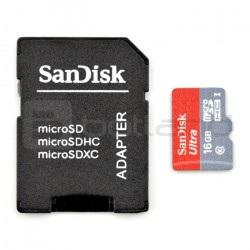 Karta pamięci SanDisk micro SD / SDHC 16GB UHS 1 klasa 10 z adapterem