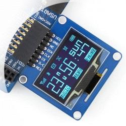 """Wyświetlacz OLED dwukolorowy graficzny 1,3"""" 128x64px SPI/I2C- kątowe złącza"""