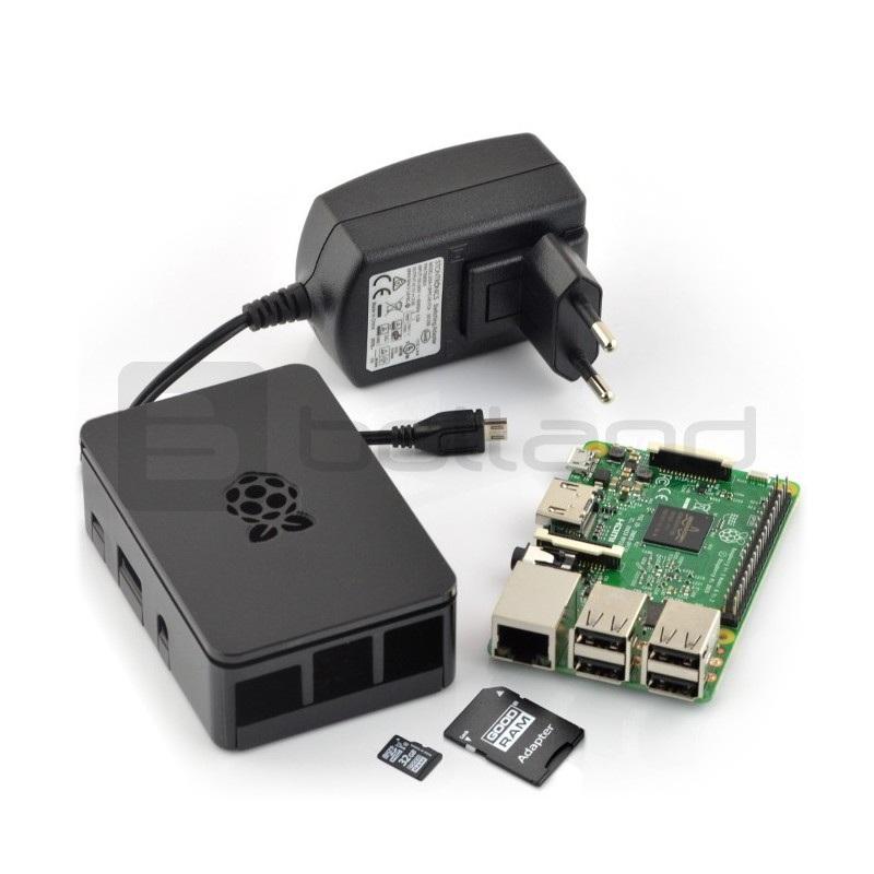 Zestaw Raspberry Pi 3 model B + obudowa + oryginalny zasilacz + karta z systemem