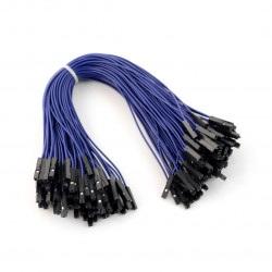 Przewody połączeniowe żeńsko-żeńskie 20cm niebieskie - 100 szt.