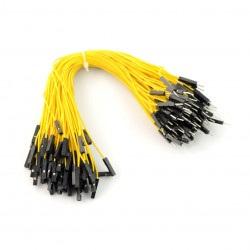 Przewody połączeniowe żeńsko-męskie 20cm żółte - 100 szt.