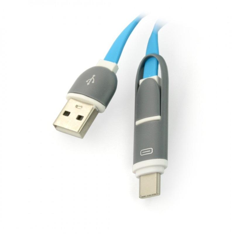 Kabel USB C + microUSB - USB A - 1m niebieski
