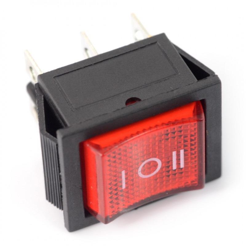 Przełącznik kołyskowy RS203-6C3R - 250V/16A - czerwony