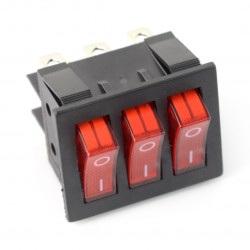Przełącznik kołyskowy, potrójny RS203-6C3R - 250V/16A - czerwony