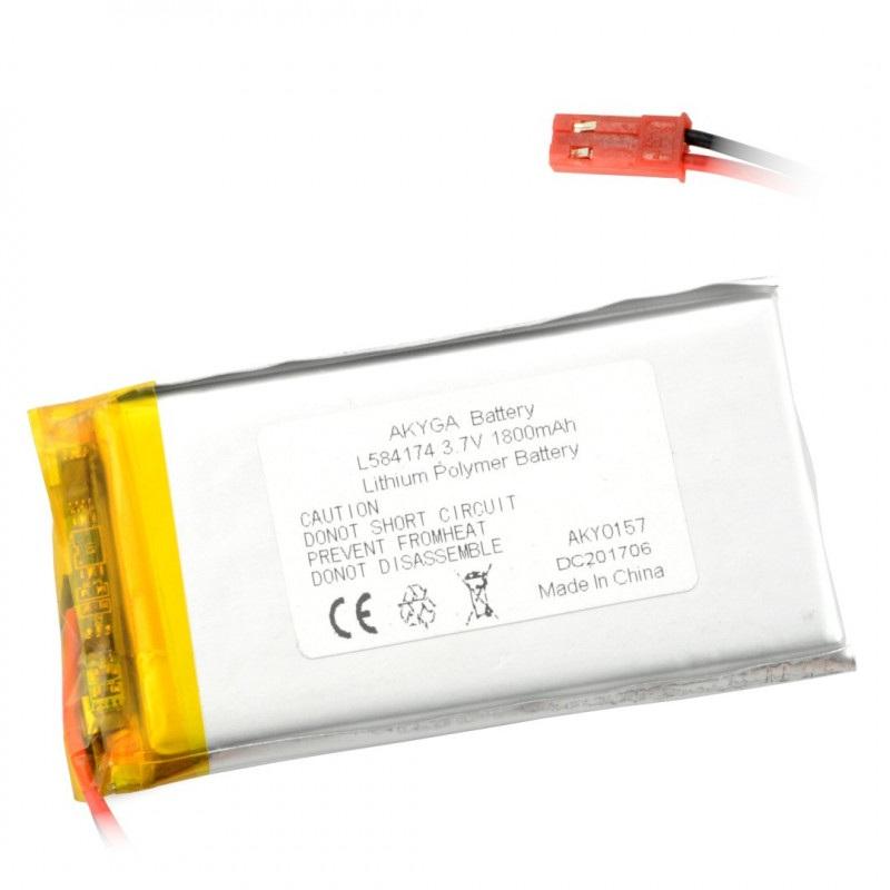 Akumulator Li-Pol Akyga 1800mAh 1S 3.7V - złącze JST-BEC + gniazdo
