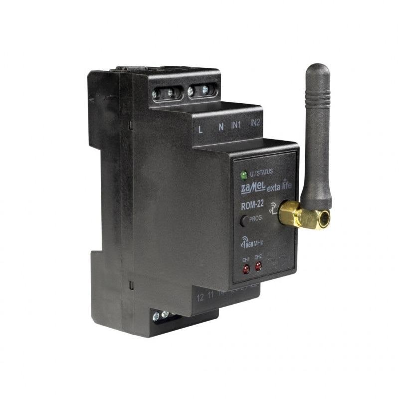 Exta Life - Radiowy odbiornik modułowy 2-kanałowy 230V DIN - ROM-22