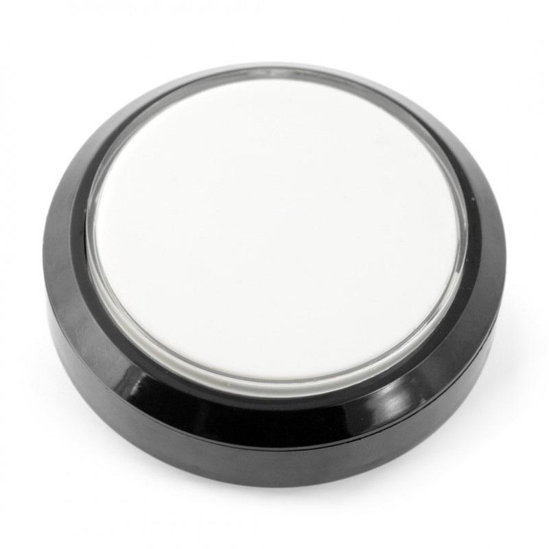 Push button 10cm - biały - płaski