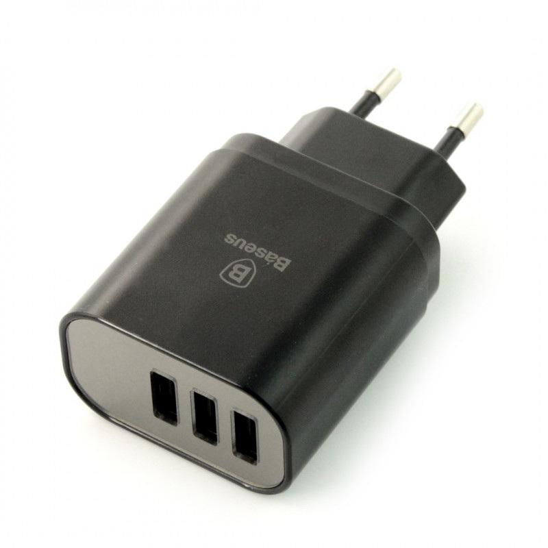 Zasilacz Baseus Mirror Travel - 3x USB 5V / 3,4A z wyświetlaczem