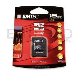 Karta pamięci EMTEC micro SD / SDHC 16GB klasa 4 z adapterem