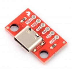 USB typ C 6 pin - złącze do płytki stykowej - SparkFun