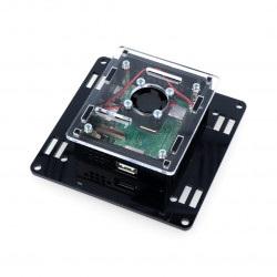 Obudowa Raspberry Pi model 3A+ Vesa v2 do montażu na monitor - czarno-przezroczysta + wentylator