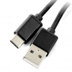 Przewód USB 2.0 typ A - USB 2.0 typ C - 1m czarny z oplotem