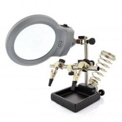 Uchwyt  z lupą i podświetleniem LED - trzecia ręka ZD10M