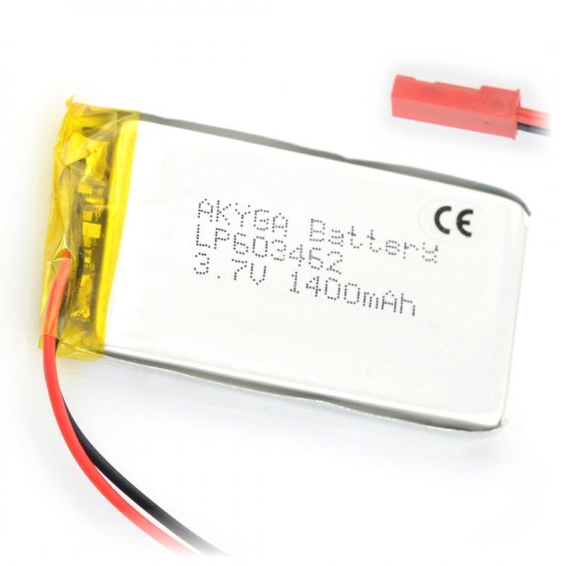 Akumulator Li-Pol Akyga 1400mAh 1S 3.7V - złącze JST-BEC + gniazdo