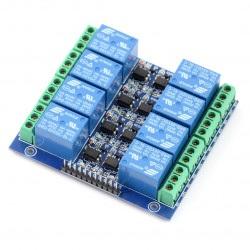 Moduł przekaźników 8 kanałów z optoizolacją - styki 10A/250VAC - cewka 5V