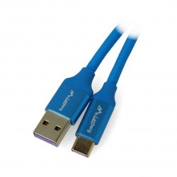 Przewód Lanberg USB Typ A-C 2.0 niebieski premium 5A - 0,5m