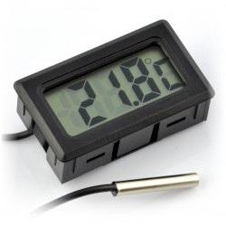 Termometr panelowy z wyświetlaczem LCD od - 50°C do 100°C - czarny