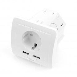 Coolseer COL-WS02WE - inteligentne gniazdko podtynkowe WiFi + 2x USB