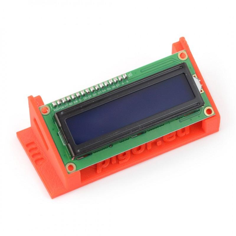 Podstawka na wyświetlacz LCD 2x16 znaków - druk 3D - czerwona