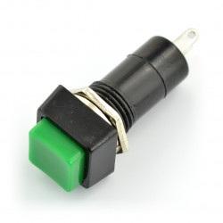 Przełącznik ON-OFF chwilowy, kwadratowy 250V/1A - zielony