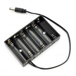 Koszyk na 6 baterii typu AA (R6) ze złączerm DC 5,5/2,1mm
