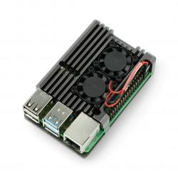 Obudowa do Raspberry Pi 4B z 2 wentylatorami - metalowa - szara