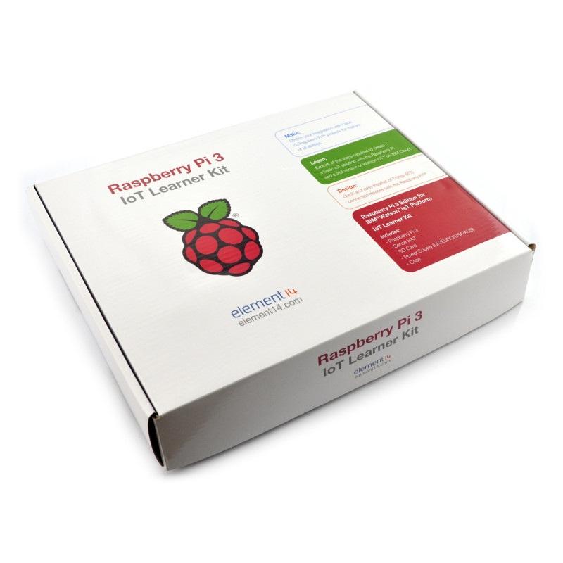 Raspberry Pi 3 IoT Learner Kit: Raspberry Pi 3 + SenseHAT + obudowa + karta pamięci + oryginalny zasilacz