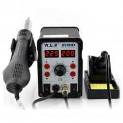 Stacja lutownicza 2w1 hotair i grotowa WEP 898BD z wentylatorem w kolbie - 700W