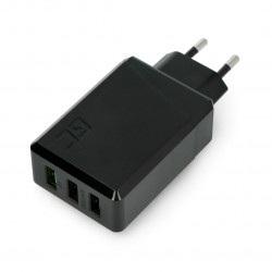 Zasilacz Green Cell Charge Source 3xUSB 30W z szybkim ładowaniem Ultra Charge i Smart Charge - czarny