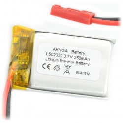 Akumulator Li-Pol Akyga 250mAh 1S 3.7V - złącze JST-BEC + gniazdo