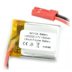 Akumulator Li-Pol Akyga 150mAh 1S 3.7V - złącze JST-BEC + gniazdo