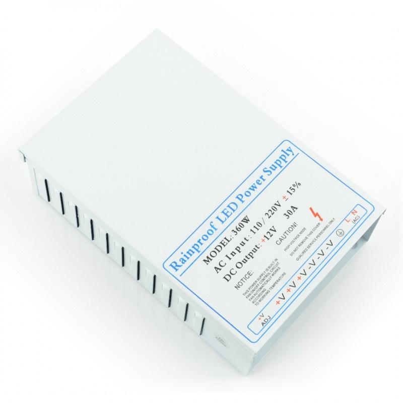 Zasilacz impulsowy przemysłowy do taśm i pasków LED 12V / 30A / 360W