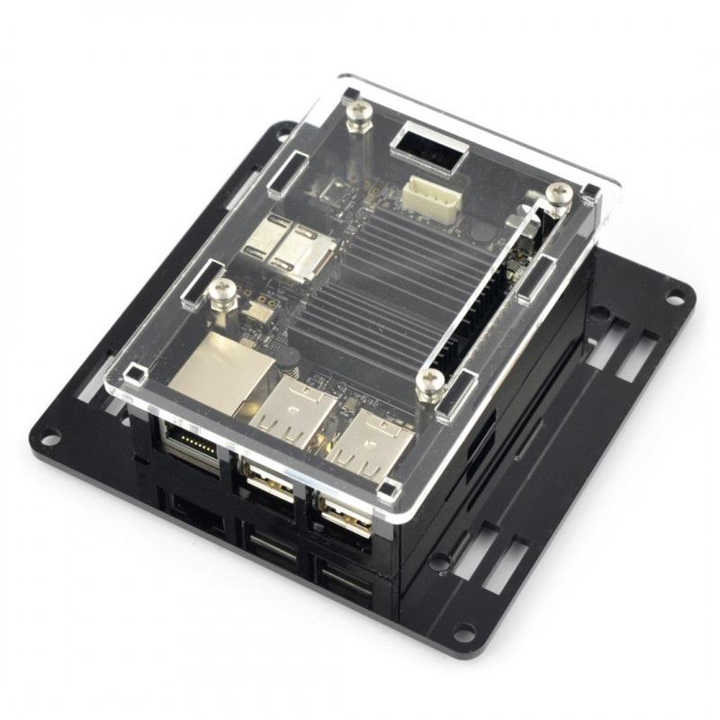 Obudowa do Odroid C2 - VESA do montażu na monitor - czarno-przezroczysta