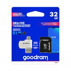 Goodram All in One -  karta pamięci micro SD / SDHC 32GB klasa 10 + adapter + czytnik OTG