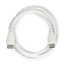 Przewód  HDMI 2.0 - dł. 2m - oficjalny dla Raspberry Pi - biały