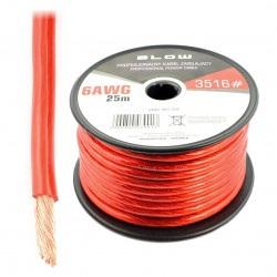 Profesjonalny przewód zasilający Blow 6AWG - czerwony - rolka 25m