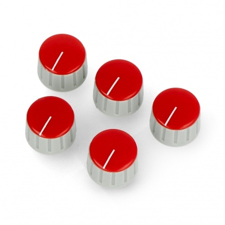 Gałka potencjometru GS18 szaro-czerwona - 18mm