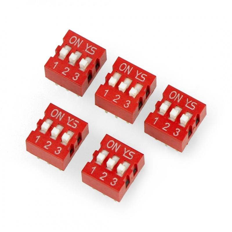 Przełącznik DIP switch 3-polowy - czerwony