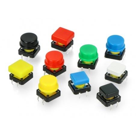 Zestaw przycisków Tact Switch 12x12mm 50szt. - kolorowe nasadki + organizer