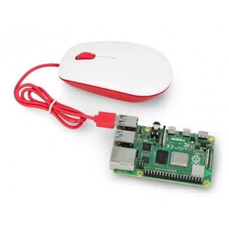 Mysz optyczna przewodowa Raspberry Pi 4B/3B+/3B/2B oficjalna - czerwono-biała