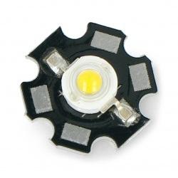 Dioda Power LED Star 1 W - biała ciepła z radiatorem