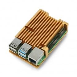 Obudowa JustPi do Raspberry Pi 4B - aluminiowa - miedziano-złota - LT-4B03