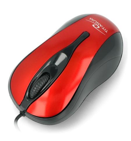 Mysz optyczna w kolorze czerwonym.
