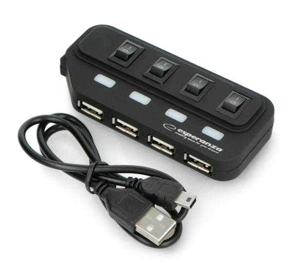 Hub USB 2.0 EA-127 4-porty Esperanza z wyłącznikami