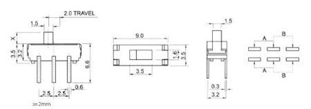 Przełącznik suwakowy SS22T25 2-pozycyjny - 5szt.