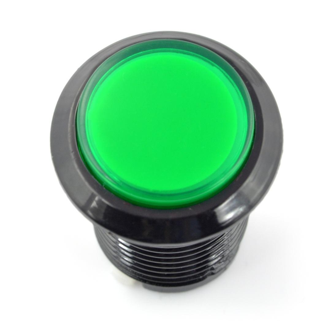 Arcade Push Button 3,3cm czarna obudowa - zielony z podświetleniem