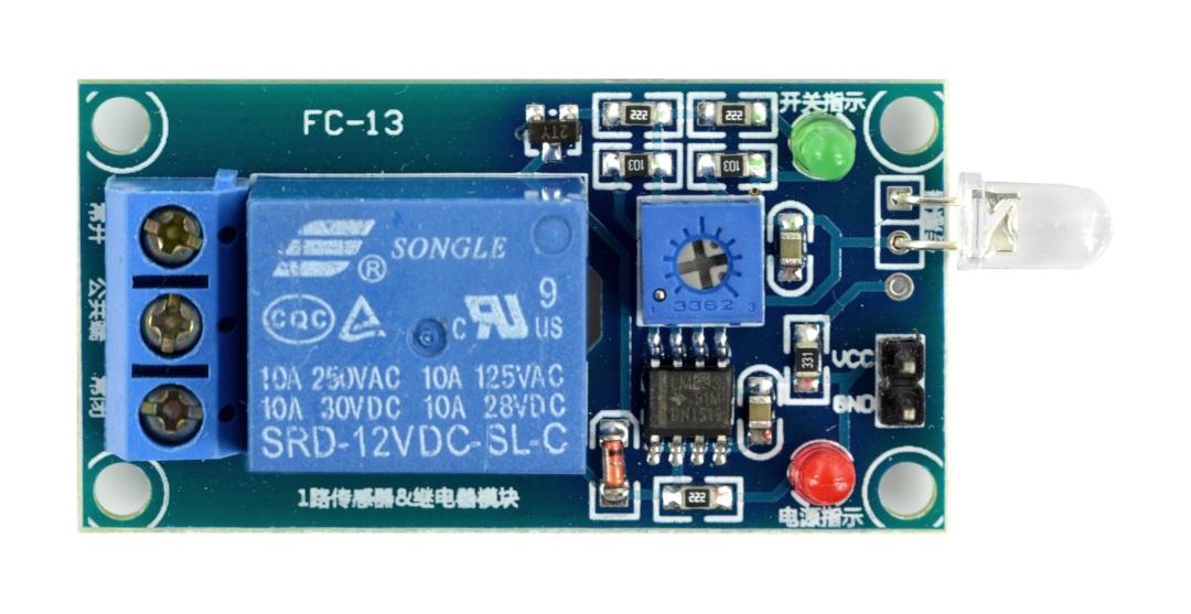 Moduł przekaźnika 1 kanał z fototranzystorem FC-13 - styki 10A/250VAC - cewka 12V