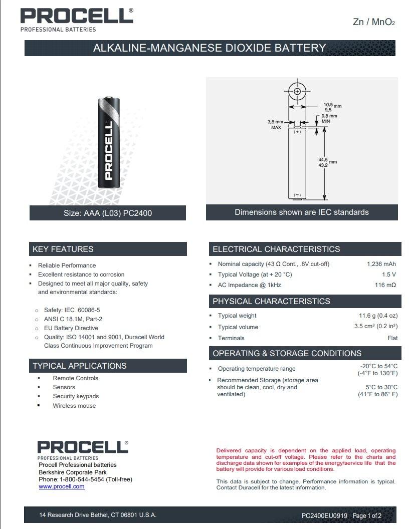 Bateria AAA (R3 LR03)