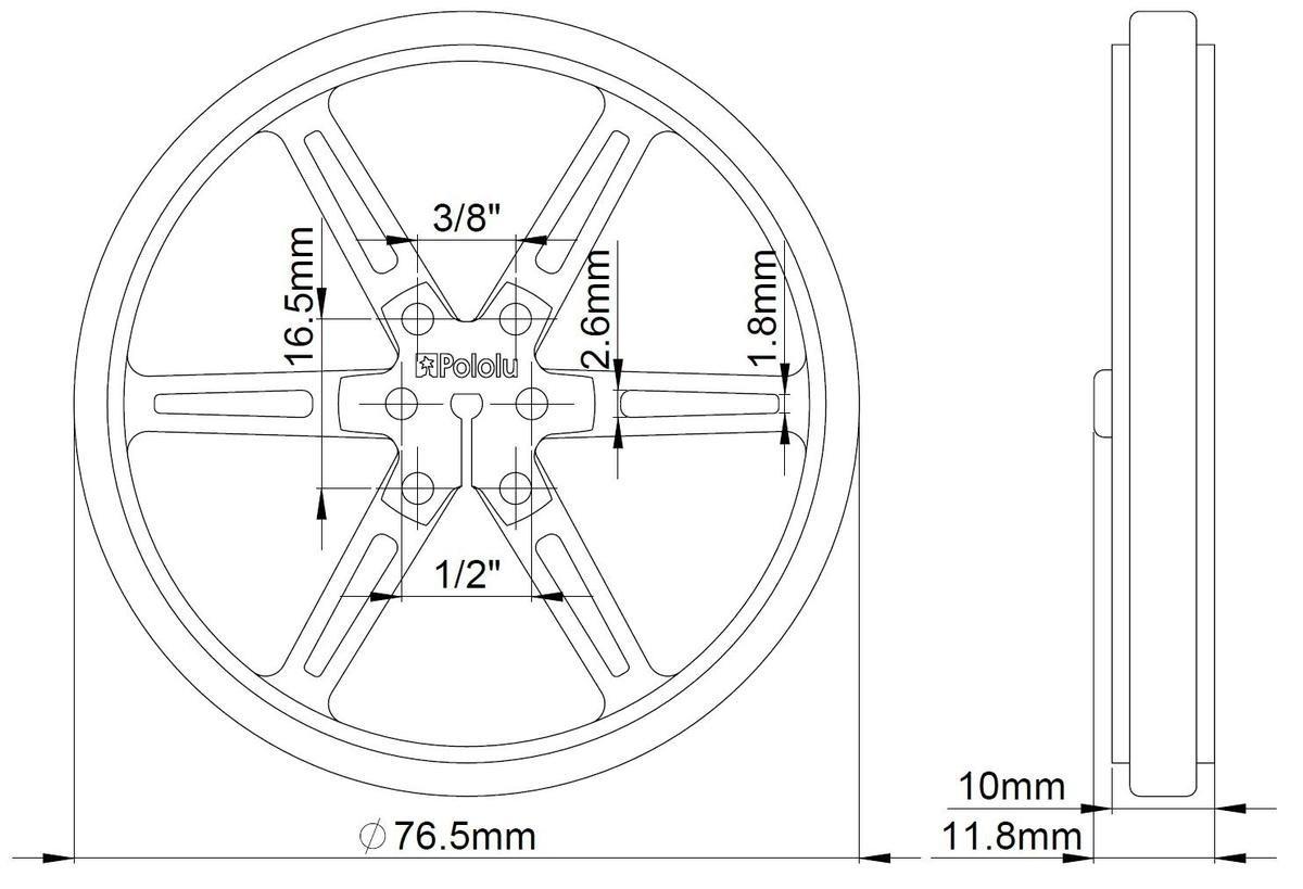 Wymiary koła Pololu 80x8mm