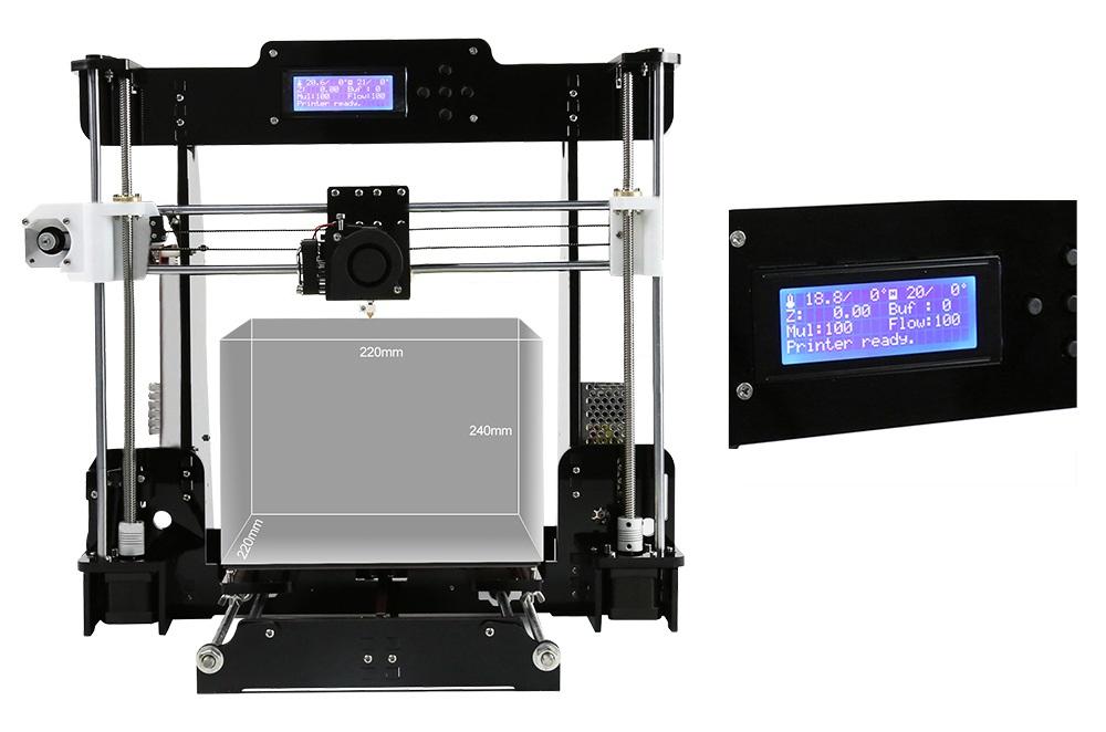 Drukarka 3D Anet A8 - rozmiar wydruku i wyświetlacz